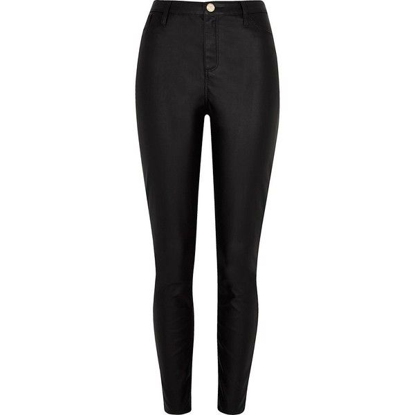 River Island Black faux leather Molly skinny jeans ($80) ❤ liked on Polyvore featuring jeans, pants, black, skinny trousers, women, tall jeans, leather look jeans, faux-leather jeans, river island and skinny jeans