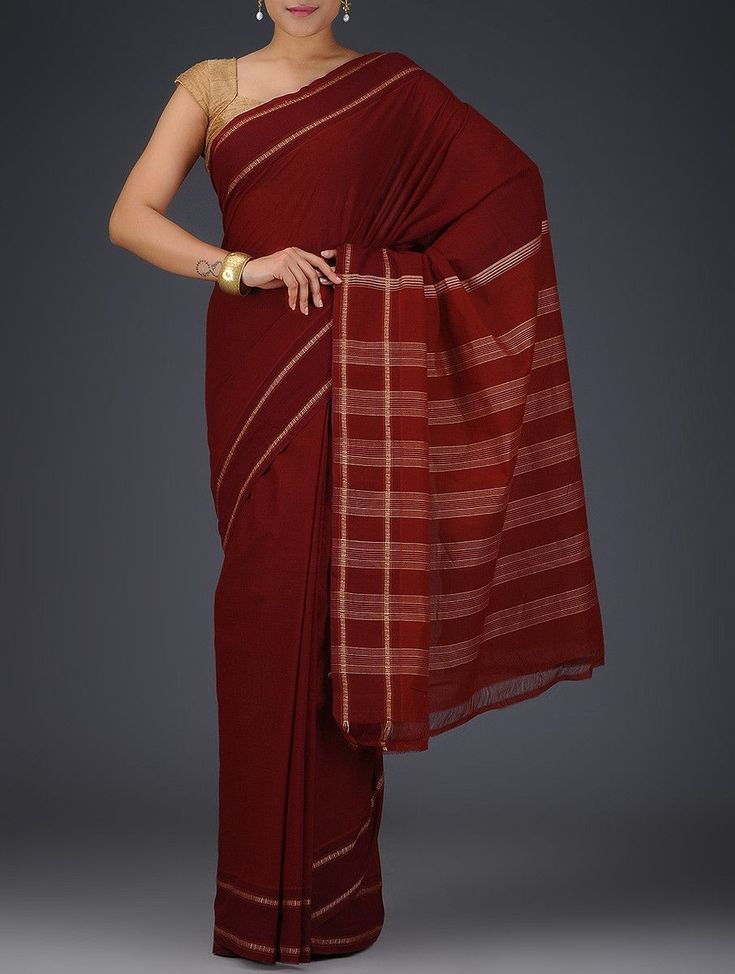 Buy Red Cotton Saree Sarees Woven Online at Jaypore.com