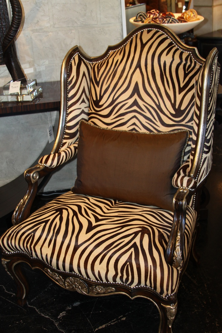 This Marge Carson wing chair works beautifully in either a formal or casual setting. Covered in a zebra print cowhide, this and many other Marge Carson pieces are available for immediately delivery at J. Douglas Design. 3301 Oak Lawn Ave, Dallas, Tx. 214-522-8100