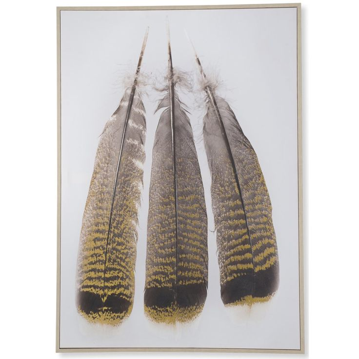 Bohemian Three Feathers Canvas Wooden Framed Wall Art $126.90