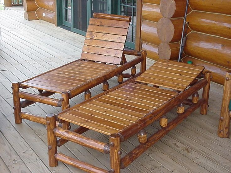 Rustic porch chaise lounge. Great for star watching around a fire