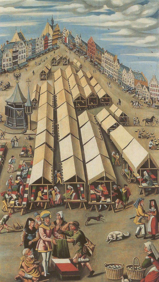 De lakenmarkt te 's-Hertogenbosch circa 1530