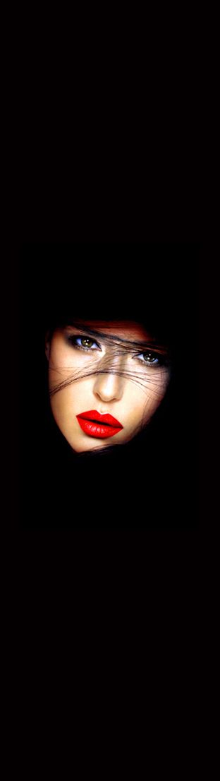 Love the red lips with the black background...Stunning!