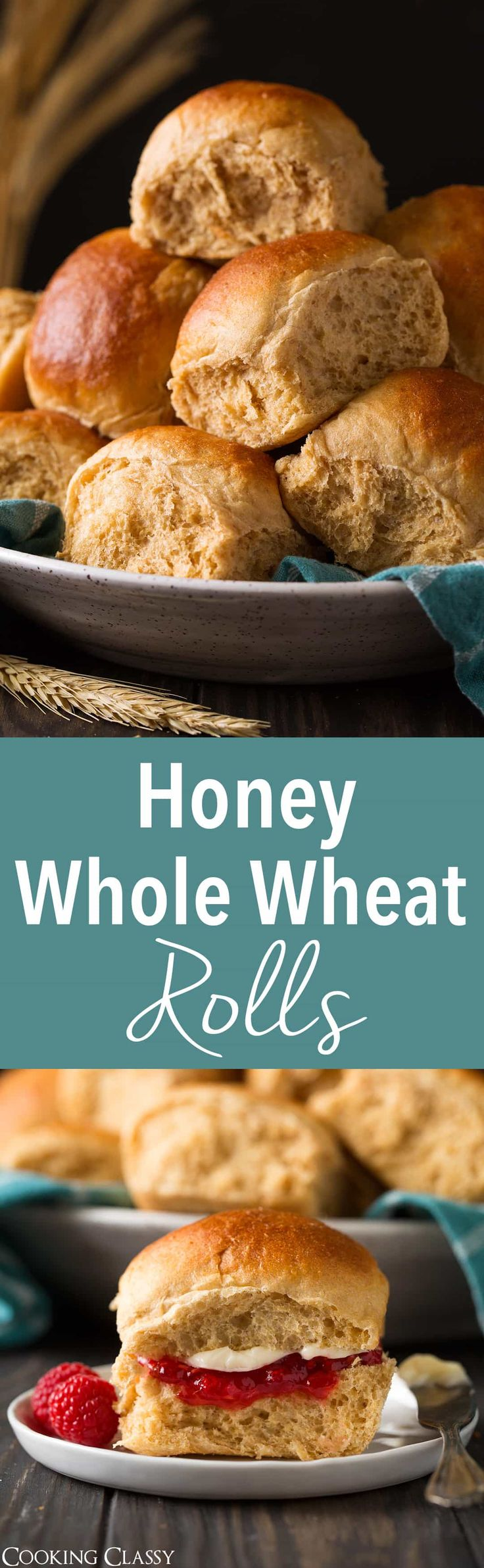 Honey Whole Wheat Rolls - Soft and fluffy rolls made from 100% whole wheat flour. Delicious with homemade freezer jam and a generous slathering of butter. via @cookingclassy #wheat #rolls #thanksgiving #recipe