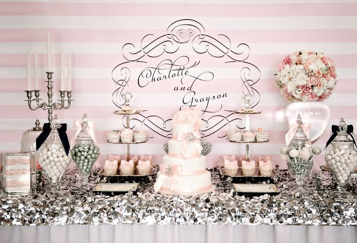 Dessert Table, pink and silver. A little much for my taste, but some good ideas.
