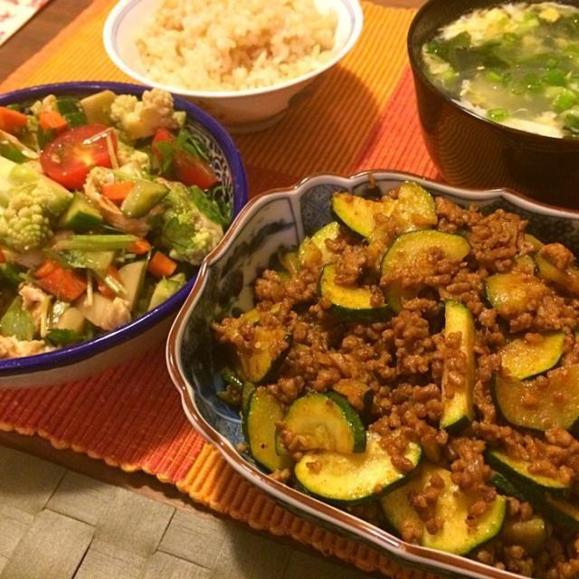 レシピとお料理がひらめくSnapDish - 8件のもぐもぐ - タコスミート&ズッキーニ、ロマネスコとモッツァレラ等のバルサミコ酢和え、春雨かきたまスープ by Junya Tanaka