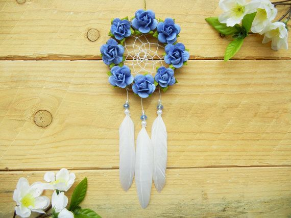 Blue Flower Dreamcatcher: Car Dreamcatcher, Rearview Mirror Accessory, Interior Car Accessory, Car Mirror Charm, Boho Dreamcatcher