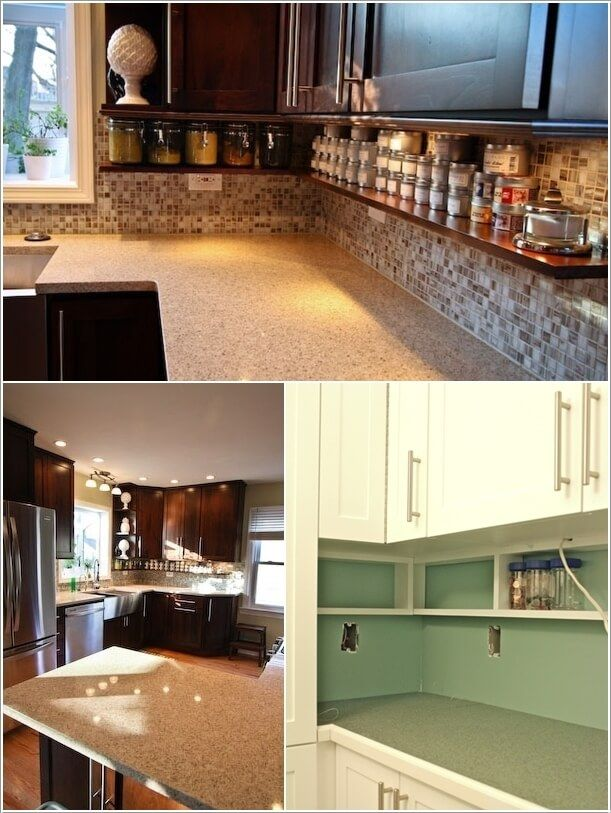 Amazing 10 Unused Places In Your Kitchen To Hack For Storage: Install Shelves Under  Your Kitchen. Cabinet ...