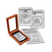 2017 MS70 ICG First Day of Issue Limited Edition 4,198 Silver Eagle Dollar Coin and 4-Coin Grading Certificate