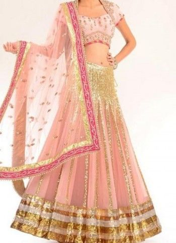 Color Pink Collection Party Wear Lehengas Weight 4 Kg Season Any Occasion Party Wear Art Style Zardosi Work Fabric Georgette, Net Work Embroidered