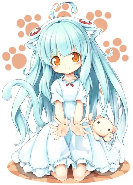 Aww, cute neko girl, and what is that? Her little pet cat? <3