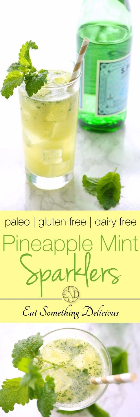 Pineapple Mint Sparklers | Pineapple and mint are paired with sparkling water for a refreshing summer beverage. Ready in 5 minutes with just 4 ingredients. | eatsomethingdelicious.com