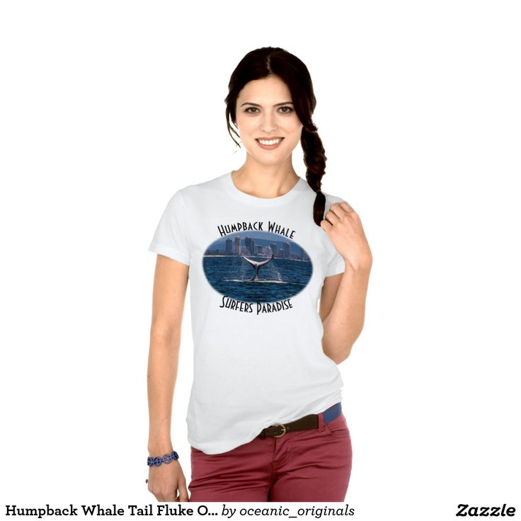 This T Shirt features a humpback whale displaying its huge tail fluke off the waters of Surfers Paradise, Australia. Each year thousands of Humpbacks migrate North from Antarctica along the Australian East coast.