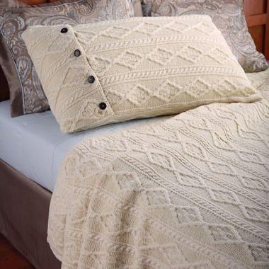 The Aran Islands Knitted Coverlet - Hammacher Schlemmer