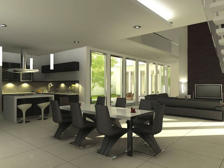 Simple Dining Room Decorating Ideas Offer Inviting And Warm Appearance: Modern  Dining Room Decorating Ideas White Ceiling Black Chair Minimalist Kitchen  ...