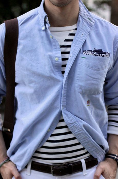 fun with stripes: Nautical Style, Fashion Men, Men Clothing, Fashion Style, Men Style, Men Fashion, Blue Shirts, Pockets Squares, Stripes