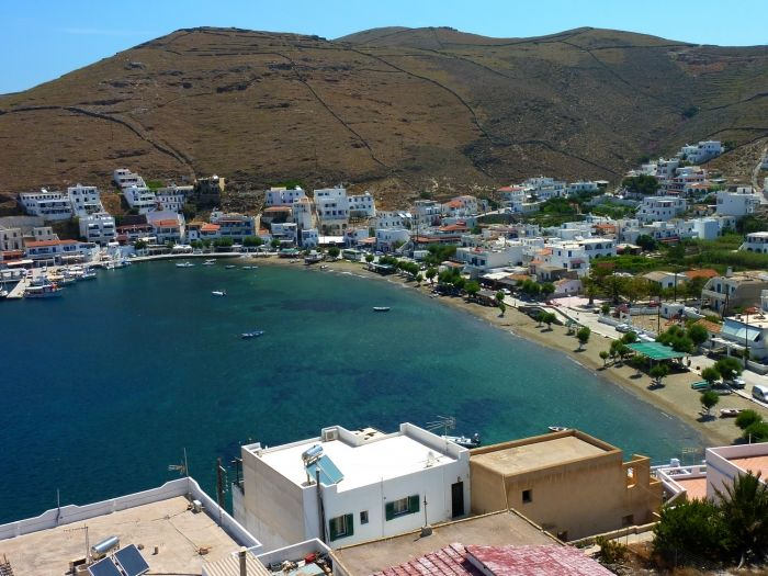 Panoramic view of the port of Kythnos, Merihas