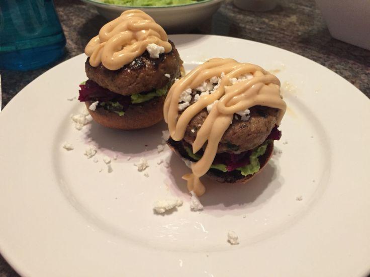 Sliders! - Home made Beef Patty - Avocado - Beetroot - Feta - Nandos Perionaise - Wholemeal Mini Bun