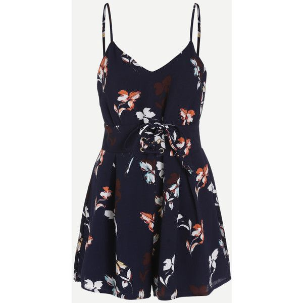 Cami Straps Lace Up Corset Floral Playsuit ($30) ❤ liked on Polyvore featuring jumpsuits, rompers, navy, navy blue rompers, floral cami, front lace corset, floral romper and strappy cami