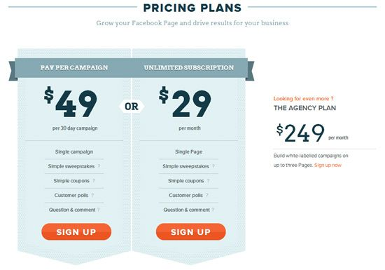 Pricing table example: Pinpoint Social