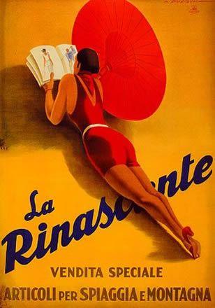 """M<3 Marcello Dudovich, 1931 """"La Rinascente, vendita speciale articoli per spiaggia e montagna"""" - Stampa Star-IGAP, Milano Provenienza: Raccolta Pirovano, Milano"""