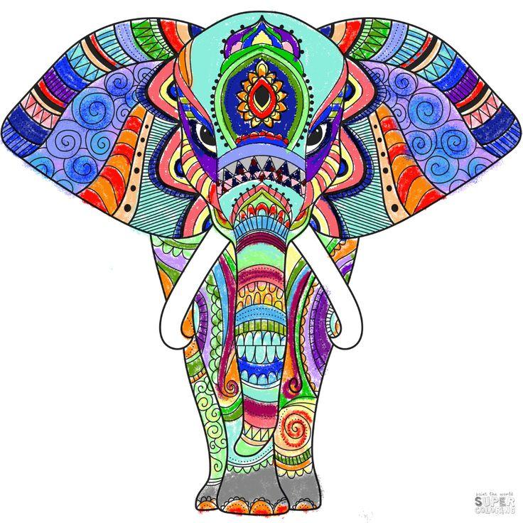 zentangle elephant - - super coloring in 2020 | zentangle