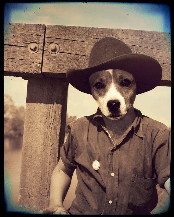 """Собака Ковбой Искусство, Джек-Рассел терьер, Западная, Mixed Media Коллаж, антропоморфный, сепия Фотография, Vintage, """"Ковбой Джек"""""""