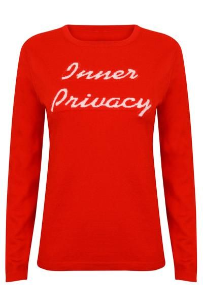 Inner Privacy jumper. Red and cream merino wool jumper.