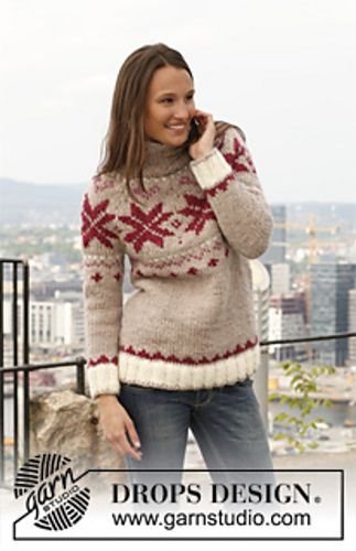 Ravelry: 142-30 Russian Winter - Jumper with round yoke in Eskimo pattern by DROPS design, bulky