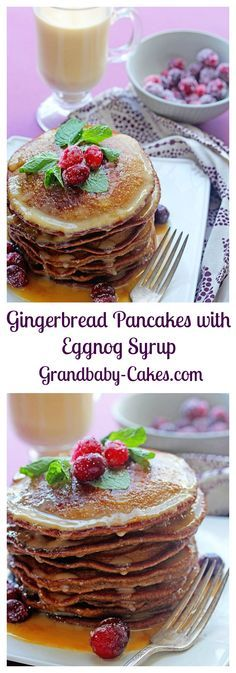 The perfect Holiday breakfast!  Gngerbread Pancakes with Eggnog Syrup | Grandbaby-Cakes.com