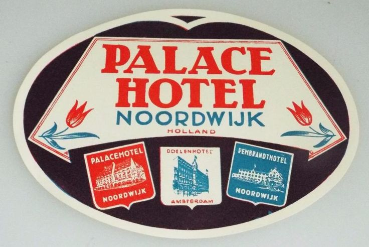Palace Hotel  - Noordwijk - Holland - Vintage Hotel Luggage Label