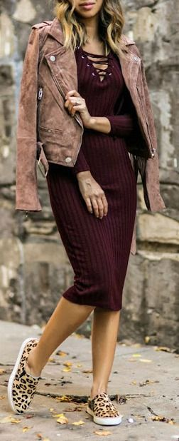 burgundy dress + leather jacket