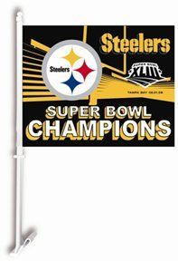 "Pittsburgh Steelers -- Super Bowl 43 Champions - Double-Sided Car Flag by NFL. $14.95. Durable satin Polyester. Bonus mounting kit converts it into a wall flag!. Officially licensed Super Bowl 43 merchandise!. Vivid colors and graphics. Celebrate the 6-time Super Bowl Champions -- Pittsburgh Steelers with this Super Bowl 43 Champions car flag. This premium double-sided 14-1/2"" x 11-1/2"" flag is made of durable satin Polyester and includes car mount pole and bracket. ..."