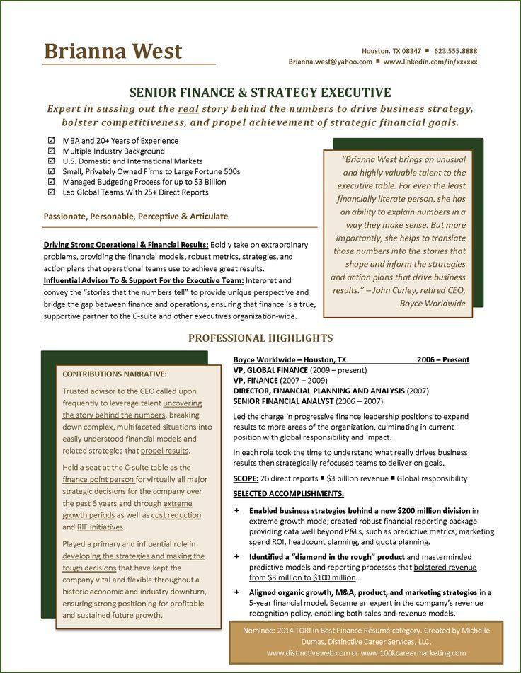 TORI Award Nominee Best Financial Resume