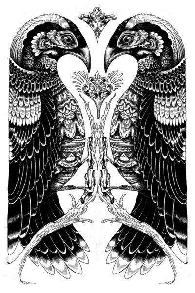 An absolutly beautiful depiction of Hugin and Munin - Odin's ravens. A breathtaking idea for a tat!