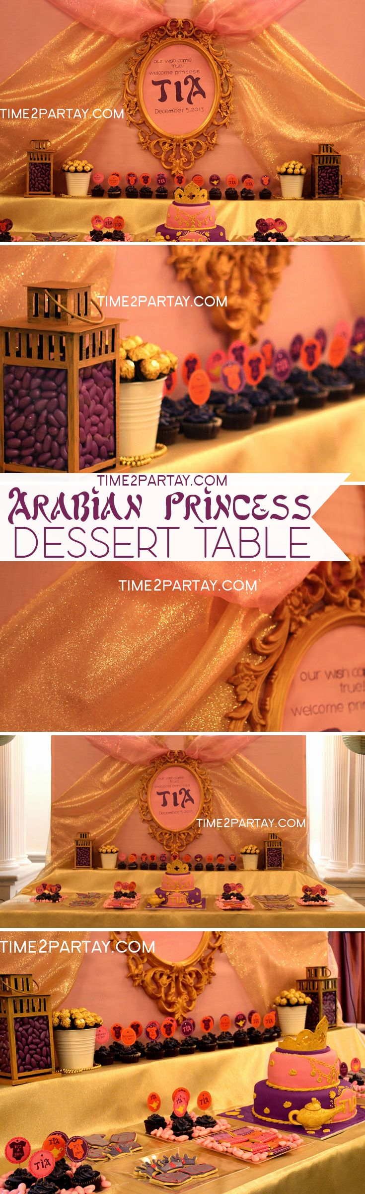 Arabian Princess Tia Has Arrived {A Welcome Baby Party}. Dessert Table #arabian #princess #jewels #cake #cupcakes #cookies #royal #birthday #baby #shower #sweets #chocolate #pink #gold #purple #orange #candy