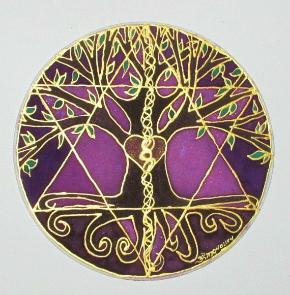 Mandala art Tree of Balance Made to Order by HeavenOnEarthSilks, $34.00