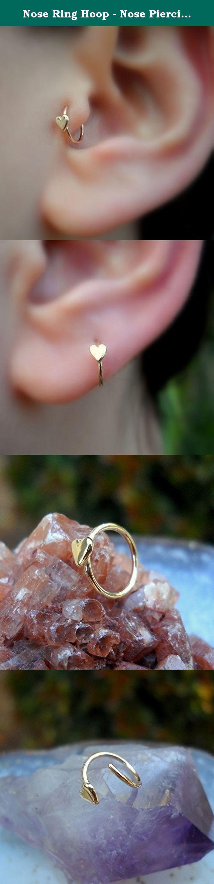 Nose Ring Hoop  Nose Piercing  Cartilage Tragus Earring 14k Solid Gold   20g