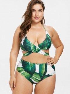 51a2f73d6dad1 Palm Leaf Plus Size Wrap Bikini Set - Medium Spring Green 3x ...