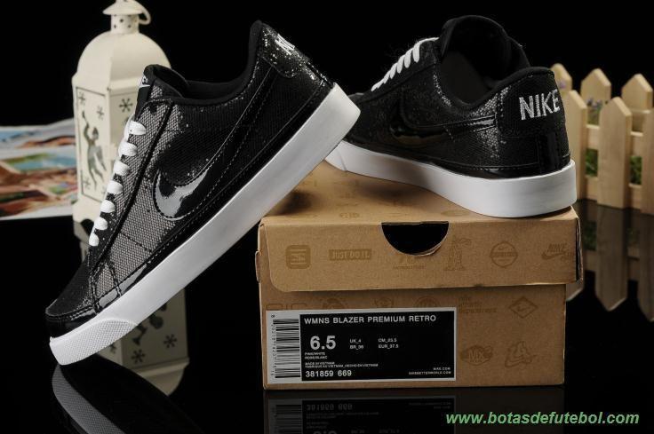 Mulheres X-Girls Nike Blazer Premium Retro 846968-002 Shiny Preto chuteiras de futsal baratas