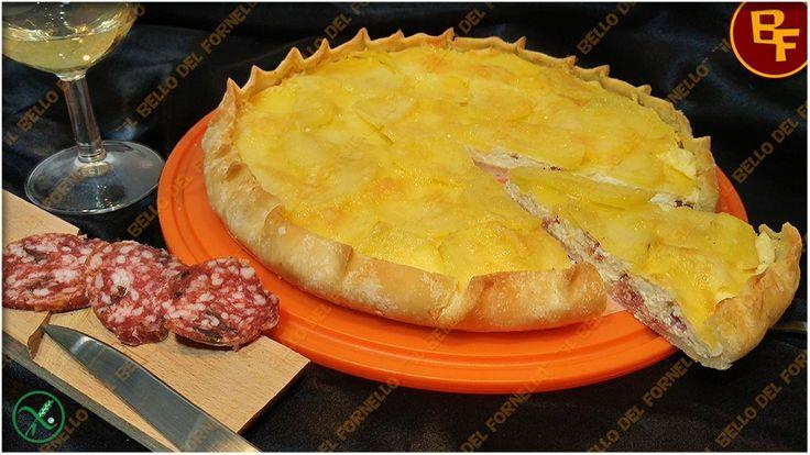 Torta salata con salame al tartufo ricotta e patate 01