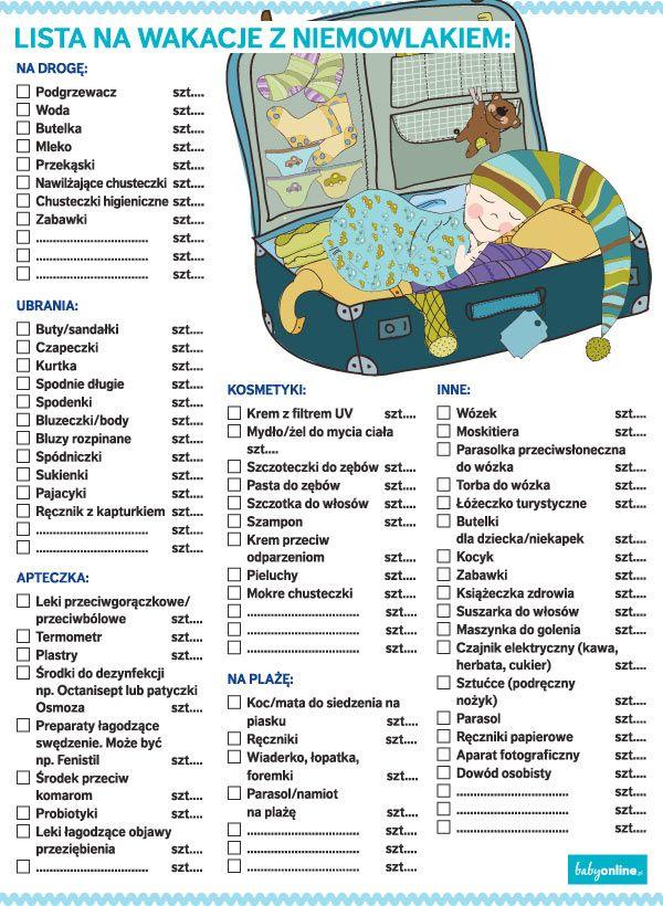 Usprawnij pakowanie na wakacyjny wyjazd z dzieckiem! Kliknij i wydrukuj listę rzeczy niezbędnych na wakacjach z niemowlakiem lub starszym dzieckiem, sprawdzaj i odhaczaj kolejne punkty