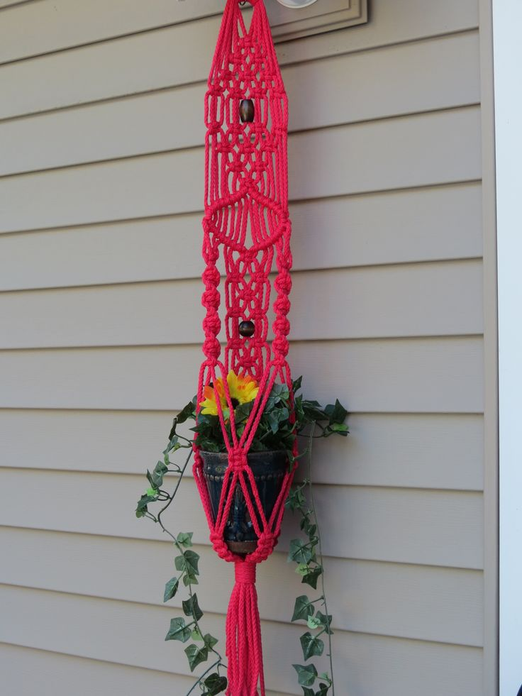 """Macrame plant hanger, RASPBERRY, 34"""", 6mm poly cord, hanging planter, unique pattern, 2 wood beads, hippy, hippie, small, handcrafted, retro, $20.00"""