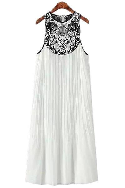 Embroidery Pleated Sleeveless Dress