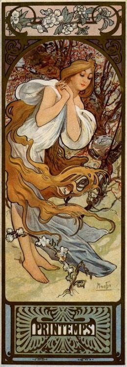"classicwood: "" Alphonse Mucha: The Seasons : Spring (1897) """