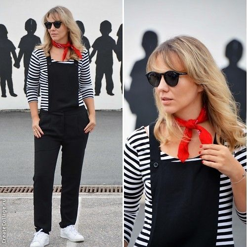 Get this look: http://lb.nu/look/8306231  More looks by Karolina Zajkowska: http://lb.nu/carolinez1  Items in this look:  Only Jumpsuit, Asos Bandana/Kerchief, H&M Top   #streetstyle #french #jumpsuit #stripes #sneakers