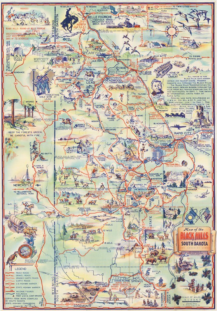Map of the Black Hills of South Dakota the Sunshine State By: R. L. Bronson Date: 1940 (copyright) Sturgis, S.D. Size 26 x 18 inches (66 cm x 44.7 cm)