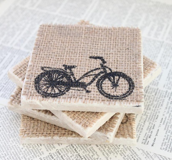 I like these coasters.  Stamped with versamark they might even absorb a little bit of condensation!