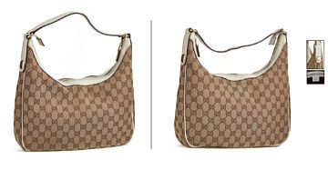 GUCCI HANDBAG  Gucci, Italy. Shoulder Model with monogram fabric and white leather.  Details in gold colored metal.
