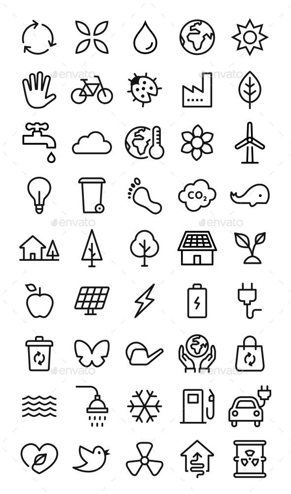 45 Environment & Sustainable Vector Icons #amp, #E…